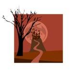 Cartão bonito para o feriado de Dia das Bruxas com o castelo na silhueta do monte e da árvore Imagens de Stock