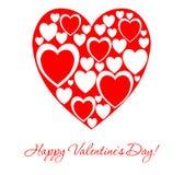 Cartão branco para o dia do ` s do Valentim com um coração vermelho grande no cente Fotos de Stock