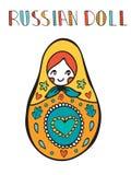 Cartão colorido com a boneca bonito do russo Imagem de Stock
