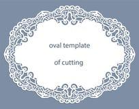 Cartão com beira oval a céu aberto, doily de papel sob o bolo, molde para cortar Foto de Stock Royalty Free