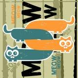 Cartão com dois gatos Imagens de Stock
