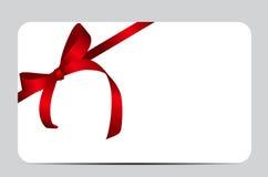 Cartão com a fita vermelha do presente Ilustração do vetor Fotos de Stock