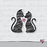 Cartão com gatos Imagens de Stock Royalty Free