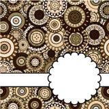 Cartão com os ornamento orientais marrons Imagem de Stock