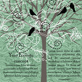 Cartão com pássaros e a árvore de florescência Fotografia de Stock
