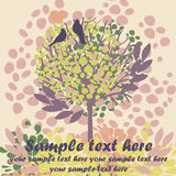 Cartão com pássaros e a árvore de florescência Fotografia de Stock Royalty Free