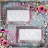 Cartão com quadros, flores Imagens de Stock Royalty Free