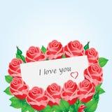 Cartão com rosas vermelhas e coração Foto de Stock Royalty Free
