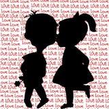 Cartão com silhuetas dos desenhos animados de um menino e de um beijo da menina Imagem de Stock Royalty Free