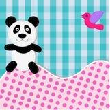Cartão com urso e pássaro de panda Imagens de Stock