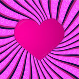 Cartão cor-de-rosa com irradiar e corações Foto de Stock