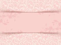 Cartão cor-de-rosa do convite do vintage com teste padrão floral Vetor EPS-10 Fotografia de Stock Royalty Free