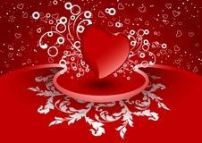 Cartão creativo do Valentim com coração na cor vermelha, vetor Fotos de Stock Royalty Free