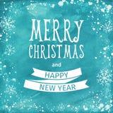 Cartão da aquarela do cumprimento Rotulação do Feliz Natal Vetor Imagens de Stock