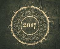 Cartão da celebração do ano novo e do Natal Círculo do zodíaco Imagens de Stock Royalty Free