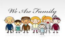 Cartão da família dos desenhos animados Imagens de Stock