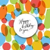 Cartão da ilustração do vetor do feliz aniversario com balões Fotos de Stock Royalty Free