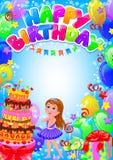 Cartão da menina do feliz aniversario com lugar para o texto Fotografia de Stock