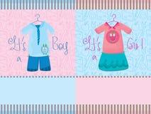 Cartão da menina do menino Fotografia de Stock