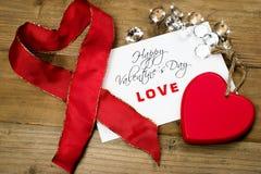 Cartão da mensagem do amor para o dia de Valentim Fotografia de Stock Royalty Free