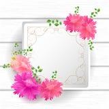 Cartão das flores com etiqueta do vintage Fotografia de Stock Royalty Free