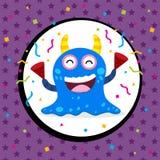 Cartão de aniversário bonito do monstro Fotos de Stock
