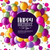 Cartão de aniversário com doces e texto da cor Fotos de Stock