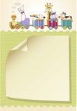 Cartão de aniversário customizável com o trem animal dos brinquedos Fotografia de Stock Royalty Free