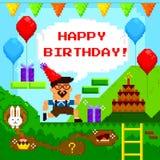 Cartão de aniversário do jogo do pixel Fotografia de Stock