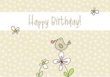 Cartão de aniversário engraçado do pássaro do doodle Imagens de Stock Royalty Free
