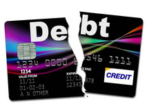Cartão de crédito rasgado acima Fotografia de Stock