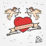 Cartão de cumprimentos feliz do dia de Valentim, etiquetas, crachás, símbolos Fotografia de Stock Royalty Free