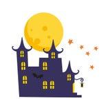 Cartão de Dia das Bruxas com castelo Imagem de Stock