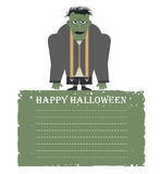 Cartão de Dia das Bruxas com o zombi isolado no fundo e no pla brancos Foto de Stock