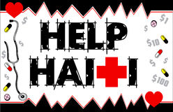 Cartão de Haiti Funraiser da ajuda Fotos de Stock Royalty Free