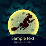 Cartão de Halloween com bruxa Imagens de Stock Royalty Free