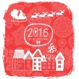 Cartão de Natal com a opinião da cidade, rotulando a etiqueta da mensagem, o cartão com casas e a Santa Claus em seu trenó da ren Fotos de Stock