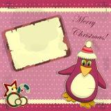 Cartão de Natal com pinguim Fotos de Stock