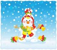 Cartão de Natal com um boneco de neve Imagens de Stock