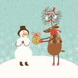 Cartão de Natal do cumprimento Fotografia de Stock