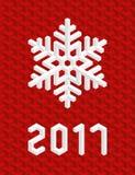 Cartão de Natal vermelho 2017 com o floco de neve 3D isométrico Fotografia de Stock