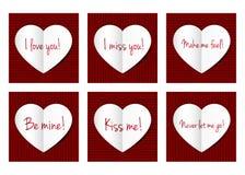 Cartão de papel dos corações Fotos de Stock