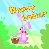 Cartão de Páscoa feliz Bunny Basket Spring Landscape Foto de Stock Royalty Free