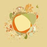 Cartão decorativo com árvore e pássaros do outono. EPS 8 Imagens de Stock