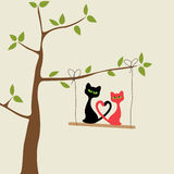 Cartão do amor com gatos Fotos de Stock