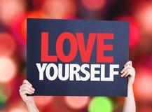 Cartão do amor você mesmo com fundo do bokeh Fotografia de Stock Royalty Free