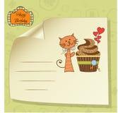 Cartão do aniversário com queque Fotografia de Stock