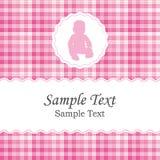 Cartão do anúncio do nascimento ou do convite da festa do bebê para uma menina recém-nascida Imagens de Stock Royalty Free