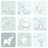 Cartão do bebê com animais Imagens de Stock Royalty Free
