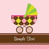 Cartão do carrinho de criança de bebê Fotografia de Stock Royalty Free